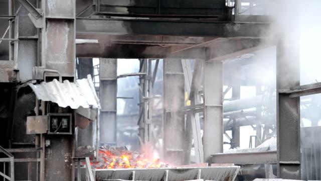 Steel works. Cast iron loading. metallurgy stock videos & royalty-free footage