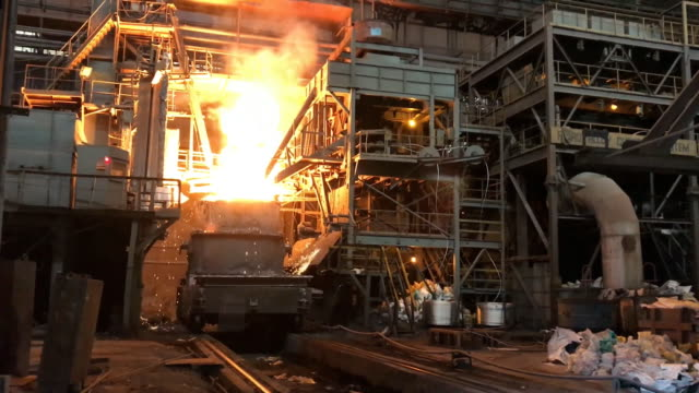Steelmaking Metal remelting shop. Steelmaking Metal remelting shop. Goryatsy shop, steelmaking. Plant for the production of metal. steel mill stock videos & royalty-free footage