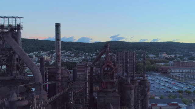 SteelStacks - the historic steel plant converted into the modern cultural center in Bethlehem, Pennsylvania. Aerial drone video with the panoramic camera motion.