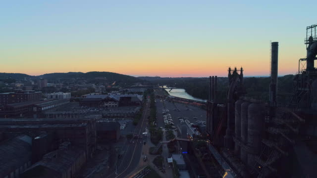 SteelStacks - the historic steel plant converted into the modern cultural center in Bethlehem, Pennsylvania. Aerial drone video with the forward camera motion.
