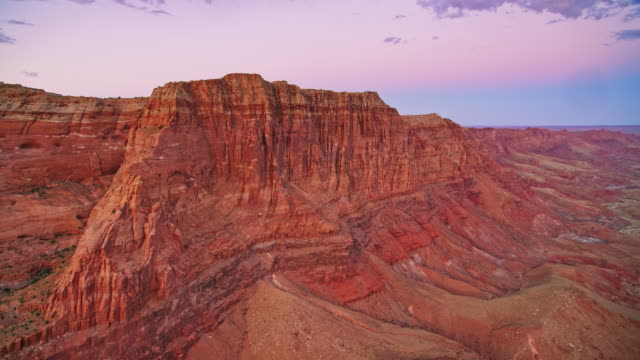 AERIAL Steep cliffs in the Grand Canyon at sunset