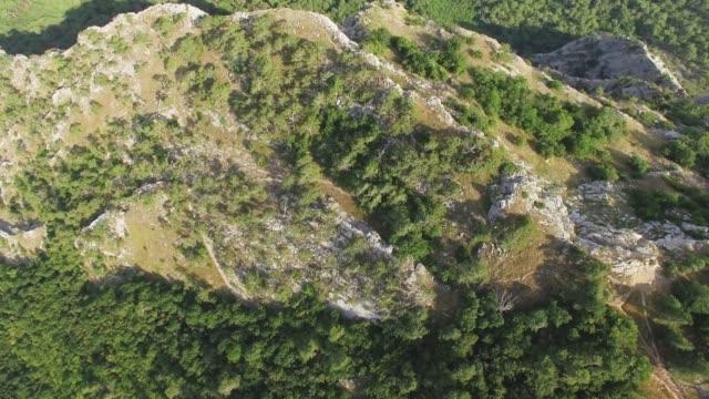 vídeos de stock e filmes b-roll de aerial: steep cliffs of canyon, top view - multicóptero