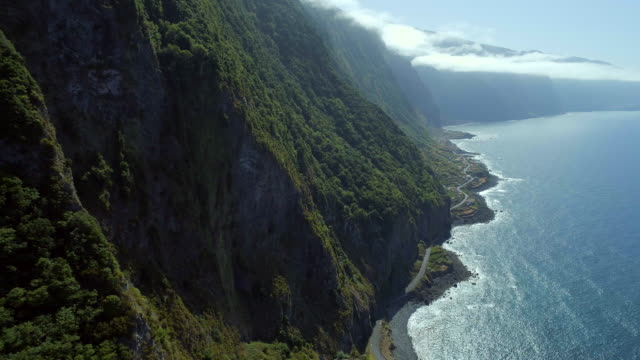 Steep Green Mountainous Coastline of Madeira