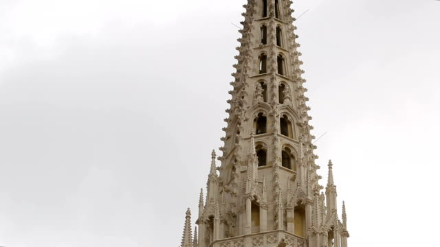Steeple of Cathedral of the Assumption of Mary, gothic style of church, Zagreb video
