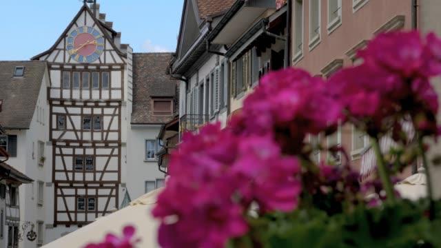 Stein am Rhein lower gate and flowers- rack focus video
