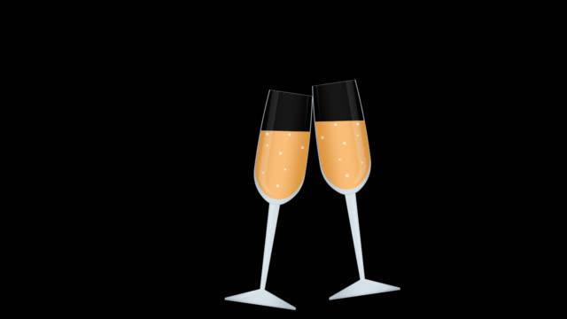 vidéos et rushes de stemware. animation de verres à champagne. dessin animé - flûte à champagne