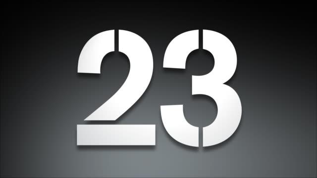 stencil conto alla rovescia di 30 con spotlight - 20 o più secondi video stock e b–roll