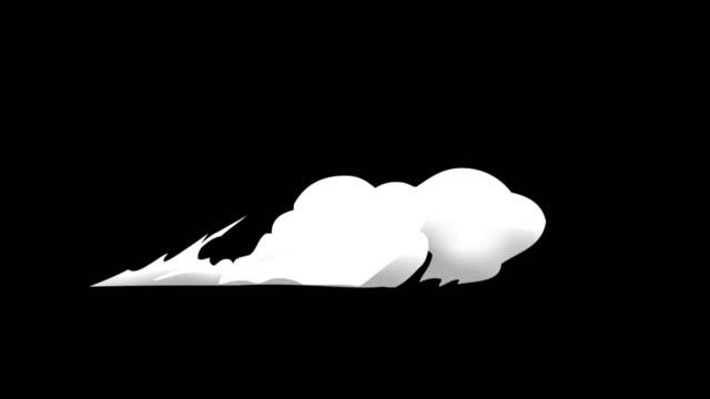spray veloce a 3 gradini sul pavimento fumo 2d cartoon fx 4k - animazione video stock e b–roll