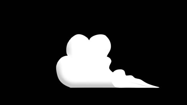 vídeos de stock, filmes e b-roll de 3 passo chão fumaça 2d cartoon fx 4k - cúmulo