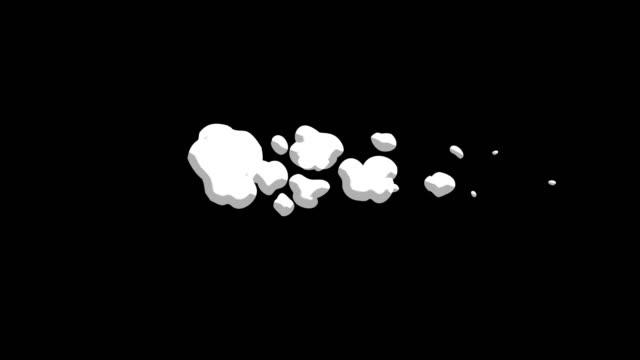 vídeos de stock, filmes e b-roll de 3 passo fumaça grupo mover 2d cartoon fx 4k - cúmulo