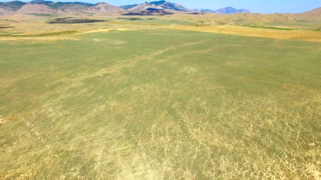 AERIAL: Steppe and hills on blue sky background video