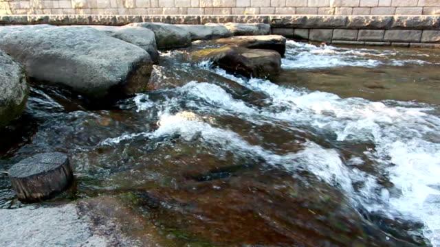 Stepping stone bridge at Cheonggyecheon stream in Seoul video