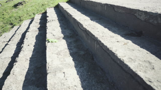 Steps of stone stairs with shadow