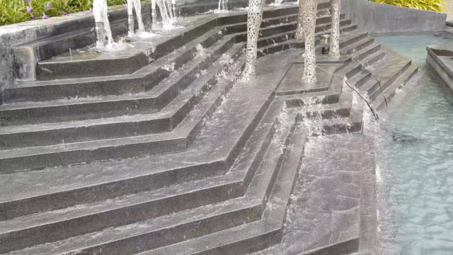 steps shaped water fountain