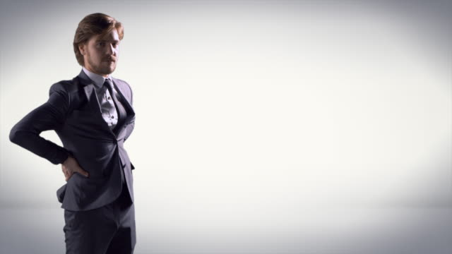 Stern Looking Man with Hands on Hips, Professional Businessman in Suit video
