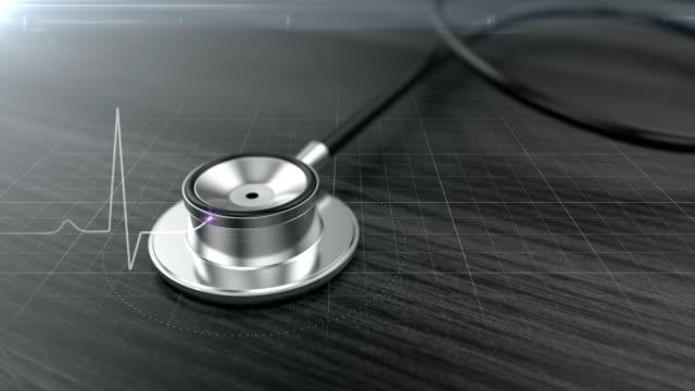 聴診器心臓リズム グラフィック - 単発 - 聴診器点の映像素材/bロール