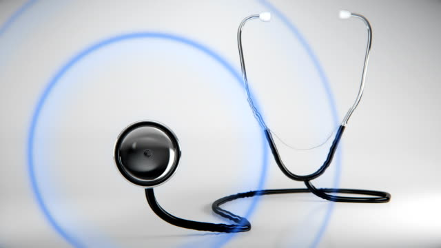 Stethoscope looks on a screen for analysis. video