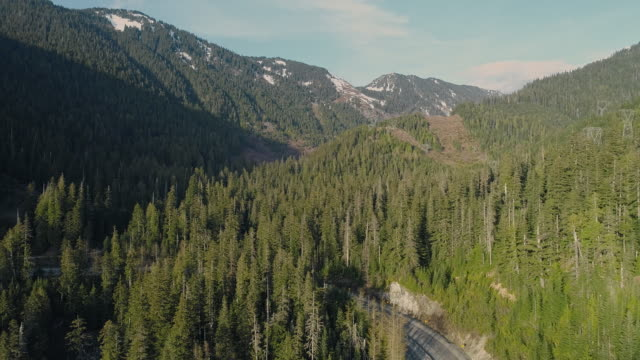 Video Stevens Pass highway in the forest in the mountains nearby Skykomish, Washington state. Aerial drone footage with the slow panoramic camera motion.