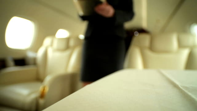 Stewardess brings coffee passenger private jet