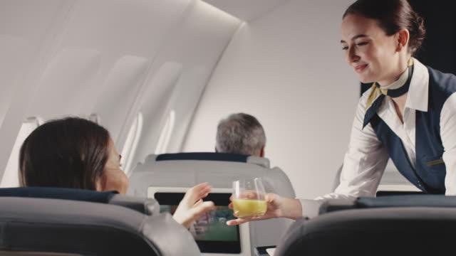ジェット機でビジネスウーマンに昼食を提供するスチュワーデス - 乗客点の映像素材/bロール