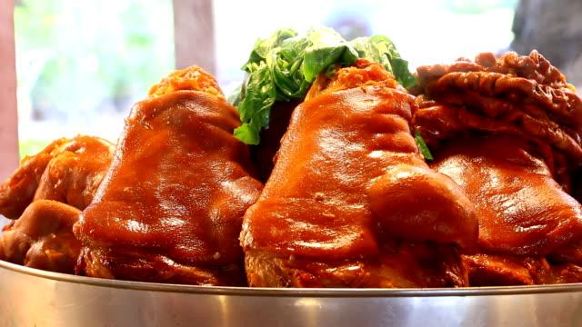 Stewed Pork Leg Stewed Pork Leg in street food, Chiangmai Thailand roast dinner stock videos & royalty-free footage