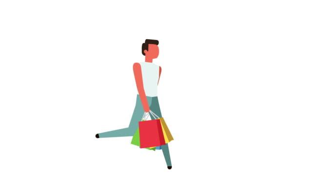vídeos de stock e filmes b-roll de stick figure color pictogram man character run with shopping bag sale cartoon animation - shop icon