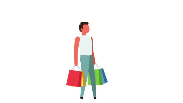 vídeos de stock e filmes b-roll de stick figure color pictogram man character walk with shopping bags sale cartoon animation - shop icon
