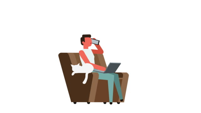 Stick Figure Color Pictogram Man Character Working on Laptop in Armchair Cartoon Animation