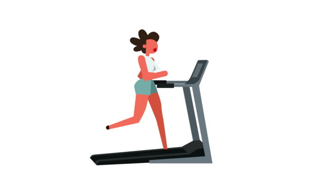 Stick Figure Pictogram Color Woman Girl Character Running On Treadmill Cartoon Animation