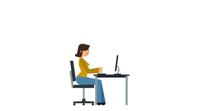 vidéos et rushes de bâton figure pictogramme fille caractère dactylographier sur le clavier ordinateur travail plat animation - personnalité