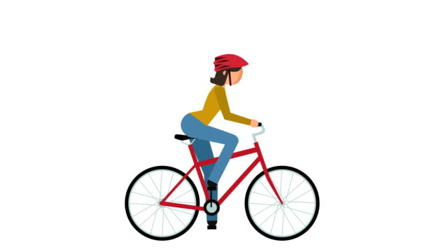 stick figure pictogram girl cyclist riding a bike character flat animation - veicolo a due ruote video stock e b–roll