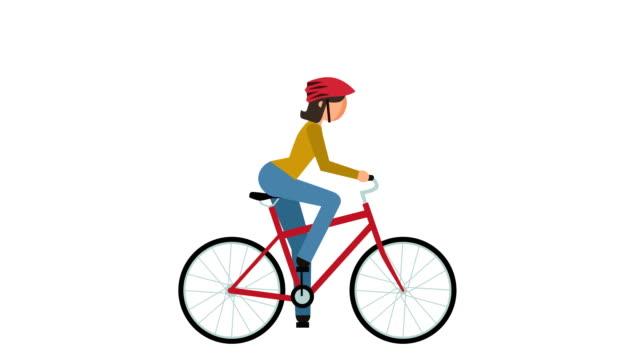 vidéos et rushes de bâton figure pictogramme fille cycliste équitation un vélo caractère plat animation - moto sport