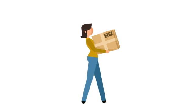 vidéos et rushes de bâton figure pictogramme fille deliveryman porte la boîte caractère plat animation - symbole