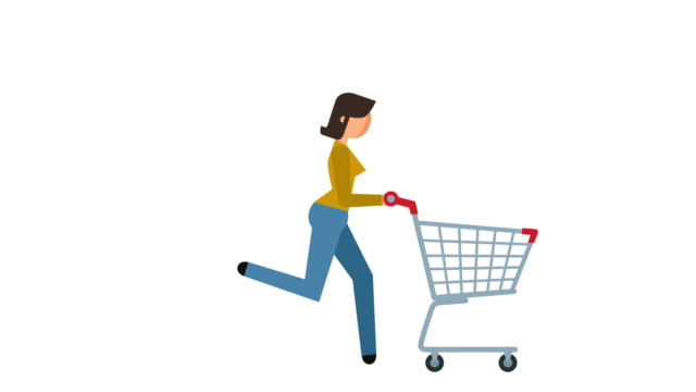 stick figure pictogram girl run with empty shopping cart character flat animation - характеры стоковые видео и кадры b-roll
