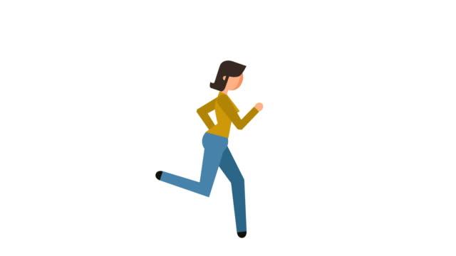 Stick Figure Pictogram Girl Running Character Flat Animation