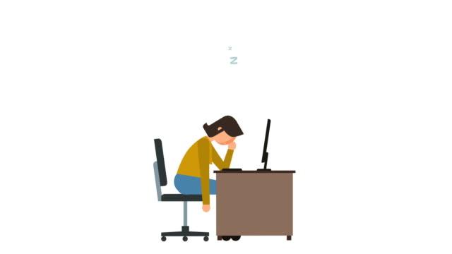 stick figure pictogram girl sleep at work near computer character flat animation - характеры стоковые видео и кадры b-roll