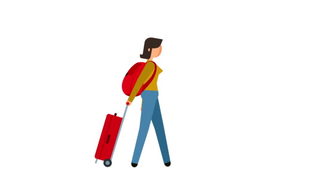 stick figure pictogram girl tourist walking with bags character flat animation - характеры стоковые видео и кадры b-roll