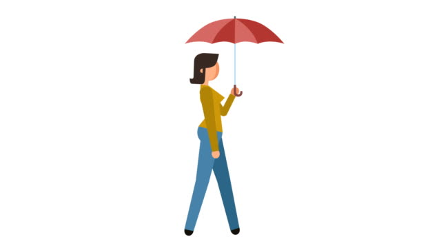 stick figure pictogram girl walk cycle under umbrella character flat animation - характеры стоковые видео и кадры b-roll