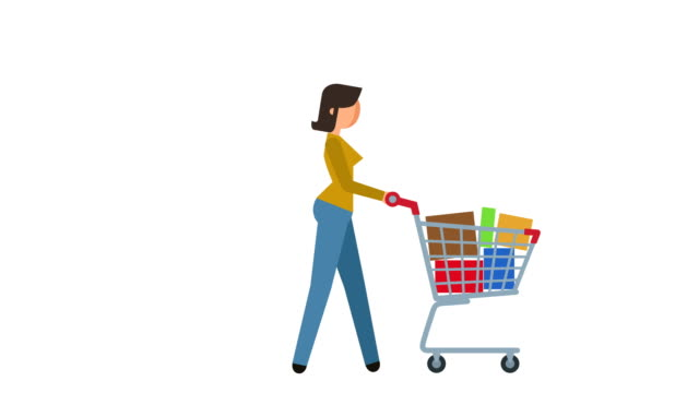 stick figure pictogram girl walk cycle with shopping cart and goods character flat animation - icona supermercato video stock e b–roll