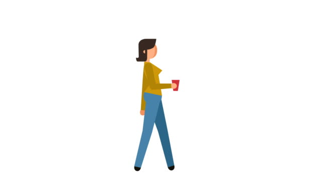 stick figure pictogram girl walk with coffee cup character flat animation - характеры стоковые видео и кадры b-roll