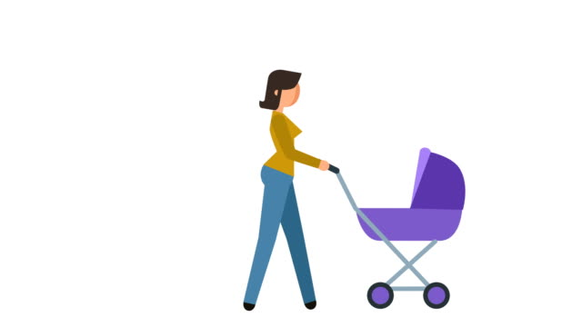 stick figure pictogram girl walks with a pram character flat animation - характеры стоковые видео и кадры b-roll