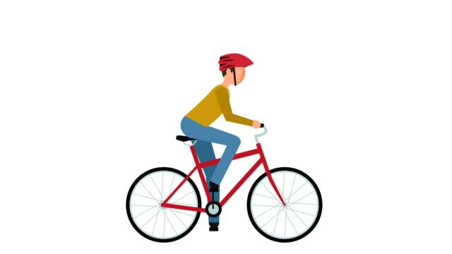 Stick Figure Pictogram Man Cyclist Riding a Bike Character Flat Animation Flat Cartoon Character Animation cycle vehicle stock videos & royalty-free footage