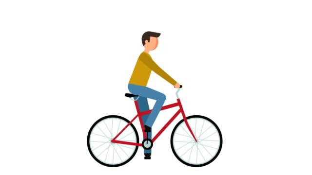 stick figure pictogram man riding a bike character flat animation - характеры стоковые видео и кадры b-roll