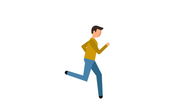 stick figure pictogram man running character flat animation - характеры стоковые видео и кадры b-roll