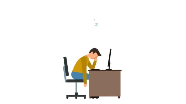 stockvideo's en b-roll-footage met stick figuur pictogram man slapen op het werk in de buurt van computer karakter platte animatie - sleeping illustration