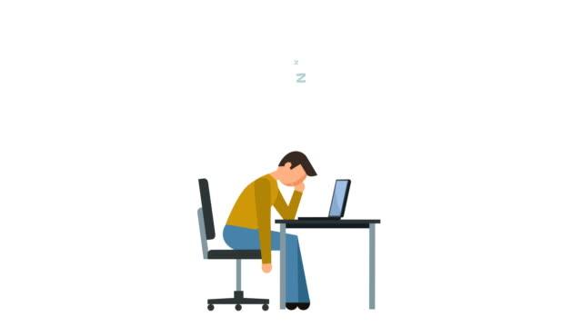 stick figure pictogram man sleep at work near computer character flat animation - характеры стоковые видео и кадры b-roll