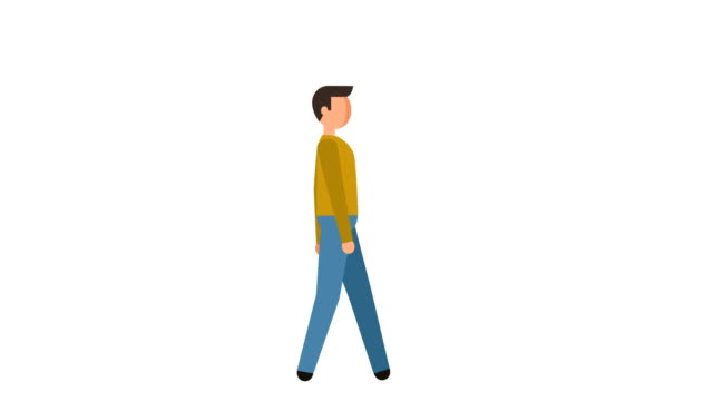 Stick Figure Pictogram Man Walk Cycle Character Flat Animation