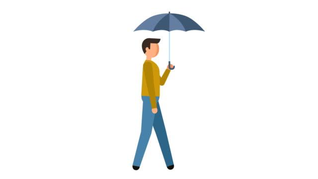 stick figure pictogram man walk cycle under umbrella character flat animation - характеры стоковые видео и кадры b-roll