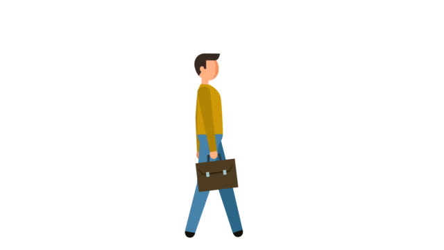 Stick Figure Pictogram Man Walk Cycle with Bag Case Character Flat Animation