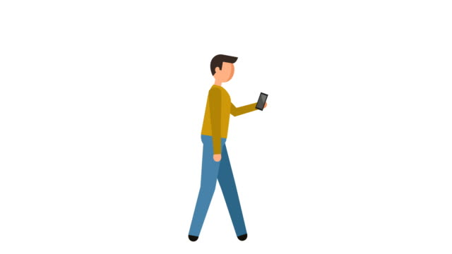stick figure pictogram man walk cycle with smartphone character flat animation - people icon video stock e b–roll